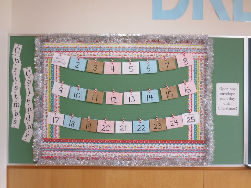 Christmas bulletin board advent calendar for 9th class decoration