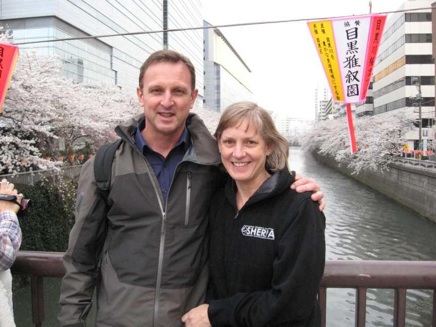 My mom and dad by the Meguro River (Mar. 23, 2013).